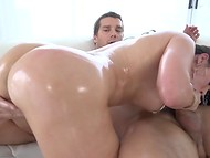 Temperament of hot Latina chick with huge melons was exciting her pal in the anal pounding