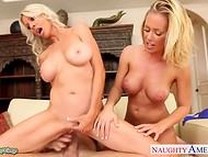 Mec puissant de dong était à l'honnêtement, partagé entre deux blonde mesdames Nicole Aniston et Emma Starr