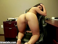 Asian woman Cindy fingering her sissy and then giving a blowjob to her coworker