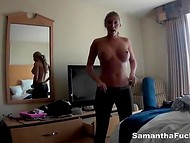 Superb pornstar Samantha Saint tells about her USA trip in the rare compilation