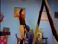 Turkish vintage porn video with participation of ginger cutie and moustached partner