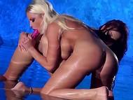 Dva dobře-zaoblené porno herečky prosím jejich mokré padavky v mělké fontány