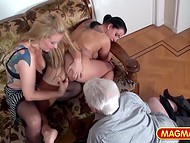 Impudent bitches teasing each other's pussy in front of amazed older onanist
