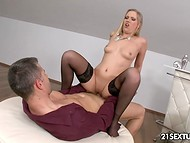 Blonde-haired starlet showed some dancing moves on camera and pounced on guy's ready cock