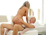 Delectable lovely takes white-haired inamorato's phallus inside shaved snatch