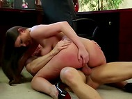 Lecherous boss and secretary with awesome knockers have fervent sex in the office