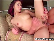 Muscular bull fingered and fucked tight butthole of skinny Asian whore with red hair