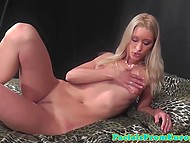 Skinny whore from Europe readily blows strong dick and licks porn agent's anal at his improvised studio