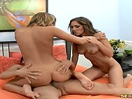 Fucker had fun in a company of two coquettish babes and ejaculated on their slender legs