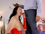 Black-haired Lara in red corset knows how to make old husband's dick ready for long anal sex
