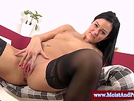 Brunette girl bought various adult toys to take care of her flower blooming between her legs