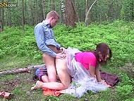 Youngster and the wedding witness stopped the car and started to copulate in the forest