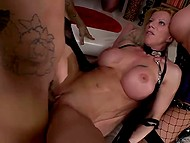 Holes of chesty females Cathy Heaven and Lara De Santis grimly double penetrated in the group sex scene
