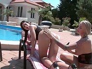 Girls took their sex toys and met by the poolside to entertain themselves properly