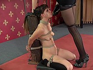 Tied trusting girl is scared because now she has to tolerate all voluptuous tortures