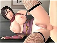 Animated Asian with huge breasts is fucked in both holes before emptying bladder