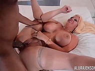 White-haired honey has picked up black beau with huge dick and now she has fun with him