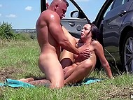 Blowjob by sexy Czech in the car and nice sex outdoors raise muscled dude's mood