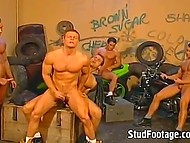 Muscled motorcycle riders gathered in the garage to give a head and go anal