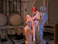 There is a lot of wine in the cellar but two ogres are interested in red-haired whore's holes only