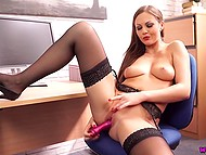 Sexy Lithuanian Tina Kay gave presentation of new dildo and tested it in the office