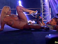 Provocative pornstar exposed seductive body and even allowed stranger to stimulate her pussy on the stage