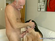 Old man meets mature lover at the station and drives her home to go intimate with this buxom woman