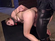 Tied sweetie has no choice but to take abductor's long dick in wet pussy from behind