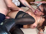 Gallant man gave several kisses and roughly penetrated unmatched girl in black pantyhose