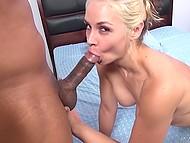 Blonde-haired porn actress Sara Vandella sucks penis of Latin guy and swallows his sperm