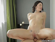 Dude oiled sexy body of alluring brunette and thrust cock into asshole on massage table