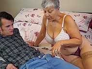 Gray-haired old woman lures handsome youngster in her bedroom not for demonstrating the guitar