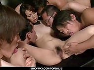 Group of perverts got the objective to lead skinny Japanese girl to squirt and they completed that task perfectly