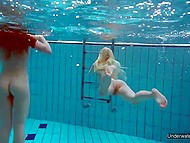 Young teens have great time in pool and show off their wonderful holes underwater