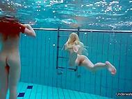 Молодые дамы проводят время в бассейне и показывают свои замечательные дырочки под водой