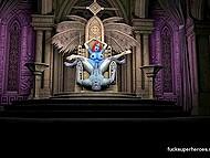 Инопланетянин с синей кожей устранил стражу королевы и кинул ей палку прямо на троне