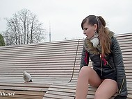 There is cold outdoors already, but brave Jeny Smith keeps flashing naked pussy lifting short skirt up