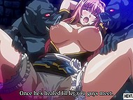 Shameless commander leaves big-boobied prisoner in private with huge orcs in Japanese hentai video