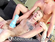 Young twink jerks off watching porn and roommate decides to help him receive pleasure