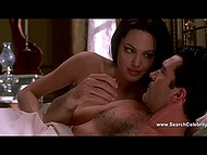 Passionate lovemaking scene with Angelina Jolie and Antonio Banderas from 'Original Sin' erotic thriller