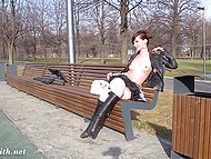 Teen Russian exhibitionist is already used to lift up her skirt now in park now by football stadium