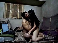 Teen Indian couple has laptop and camera in their cheap house for recording some dirty games