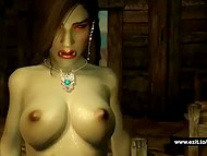 Green-skinned female Orc with giant breasts has sex with human in adult cartoon
