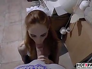 Red-haired Croatian maid Tina Blade didn't manage to clean house and apologized to her boss