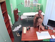 Winsome Czech girl forgets about abdominal pain after doctor fucks her pussy in the office
