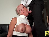 Ruthless man penetrates MILF's throat so zealously and deep like it's made from rubber