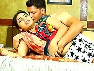 Homeowner takes off shirt and fucks fetching Indian maid in missionary position on the bed