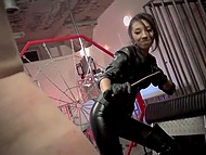 Slender brunette dominatrix punishes tied up mature guy using her favorite whip