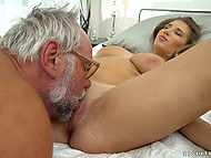 Lustful grandpa is incredibly pleased that he got such a big-boobied girl ready to fuck