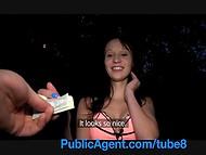 Amateur brunette teen got paid for a quick fuck near the river by a public agent
